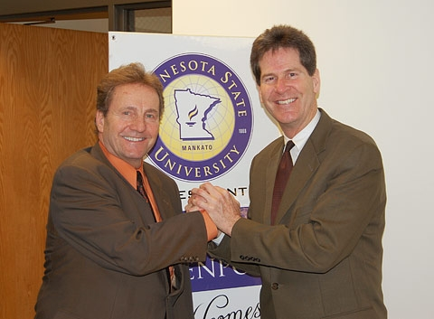 MSU Mankato President Richard Davenport and Director of the Office of Higher Education Larry Pogemiller